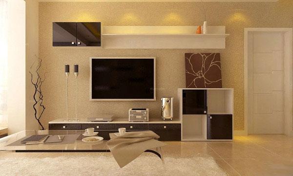 现代简约硅藻泥电视背景墙