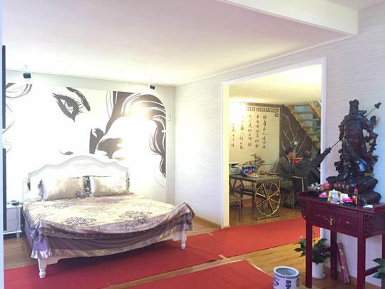 蓝天豚硅藻泥卧室床头艺术背景墙